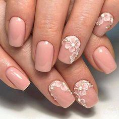 Wedding Nails-A Guide To The Perfect Manicure – NaiLovely 3d Nails, Pink Nails, Cute Nails, Pretty Nails, Nail Art 3d, Pastel Nails, 3d Nail Designs, Acrylic Nail Designs, Acrylic Nails