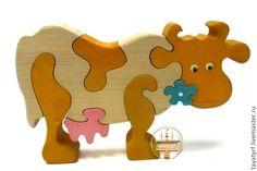 Купить Корова Деревянный паззл - корова, пазлы из дерева, береза, бежевый, берёза, акриловый лак