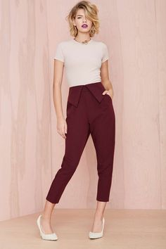 Work chic. Nasty Gal Fold Ya So Trouser | Shop Pants at Nasty Gal