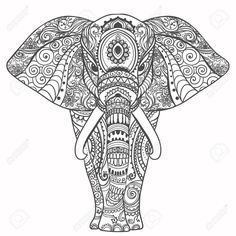 Illustration of Greeting Beautiful card with Elephant. Frame of animal made in vector. Perfect cards, or for any other kind of design, birthday and other holiday.Seamless hand drawn map with Elephant. vector art, clipart and stock vectors. Elephant Colour, Elephant Art, Elephant Tattoos, Asian Elephant, Adult Coloring, Coloring Books, Coloring Pages, Doodle Coloring, Mandalas Drawing