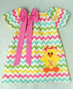 Personalized Easter Dress for Girls, Printed Outfit,Chevron Spring Dress, Baby Chick Dress, Monogrammed Holiday Dress,Pastels Handmade Dress by LyonDenCreations on Etsy https://www.etsy.com/listing/224084378/personalized-easter-dress-for-girls