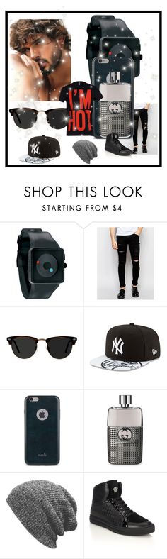 """#15"" by roxanneholabird ❤ liked on Polyvore featuring Nixon, Cheap Monday, Ace, New Era, Moshi, Gucci, Versace, Moschino, men's fashion and menswear"