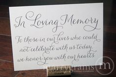 In Loving Memory Sign Table Card - Wedding Reception Seating Signage - Family Photo Table Sign - Matching Numbers Available SS01. $4.00, via Etsy.