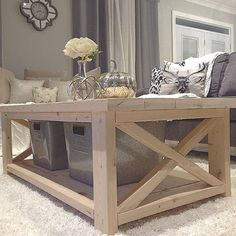 DIY Coffee Table from plan http://ana-white.com/2012/07/plans/rustic-x-coffee-table