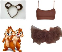 """Chip/Dale Running Costume"" by amymarcum on Polyvore Why aren't we being chip and Dale?!?!??"