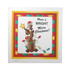 Bright Merry Christmas Printed Napkins.  Look for more items in my store.  Designs by DonnaSiggy.  All graphic designs are copyrighted on my products. #Christmas #holidays #merry #reindeer  #pinoftheday #zazzle #gifts #trendy www.zazzle.com/designsbydonnasiggy?rf=238713599140281212