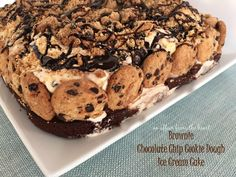 Brownie Chocolate Chip Cookie Dough Ice Cream Cake www.anaffairfromtheheart.com  layers of brownie, cookie dough ice cream chocolate chip cookies and hot fudge make this show stopper dessert! #icecream #cake #cookiedough