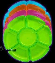 N166 - Neon Blacklight Reactive 16 inch Sectional Serving Platter