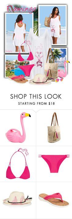 """Women's Flamingo Hand-Painted Straw Panama Hat"" by tasha1973 ❤ liked on Polyvore featuring West Elm, George, Heidi Klein, Ibo-Maraca, Aerosoles and Carrera"