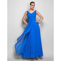 Sheath/Column V-neck Natural Floor-length Georgette Evening Dress(759999) – USD $ 149.99