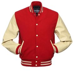 Stewart Strauss C140 Red Wool Natural Cream Leather Varsity Jacket... ($199) ❤ liked on Polyvore featuring outerwear, jackets, leather jackets, leather varsity jacket, letterman jacket, varsity bomber jacket and genuine leather jackets