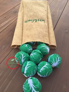 Felt Brussels Sprouts in Pretend Paper Bag Play Food
