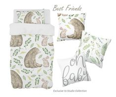 Our Best Friends design is the cutest reflection of what friends should be, perfect for a boy and a girl, our Bear and Bunny will suit a Neutral Nursery perfectly!