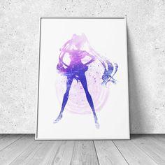 Usagi, Sailor Moon inspired, watercolor illustration, giclee art print, silhouette, anime, wall decor