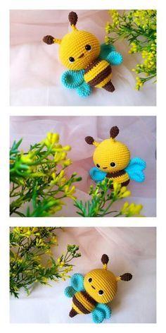 Chat Crochet, Crochet Bee, Crochet Dragon, Crochet Amigurumi Free Patterns, Crochet Crafts, Crochet Dolls, Crochet Projects, Free Crochet, Knitting Patterns
