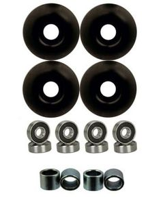 Wheels w/ Bearings & Spacers (Black): This is a brand new set of 4 wheels with bearings and spacers! The small size makes it great for trick skating and on smooth surfaces. Skateboard Wheels, Cool Skateboards, Buyers Guide, Cool Stuff, Top, Skateboarding, Skating, March, Smooth