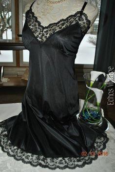 Vintage 50's Black Sliperfection French Lace Full Slip Dress Nightgown 40-42 #Sliperfection #FullSlips