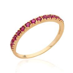 ♀ Handmade Stacking half eternity dainty Ring with Ruby ring • Gem Stone: Ruby Band: 1.3mm width • Material options: 14K rose gold filled 14K Gold Filled 18K Gold over Silver 925 Sterling Silver • Ring Size: All Sizes - Select on checkout • How to order: Select your Ring size and Metal