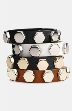 Add some edge with studded leather bracelets.