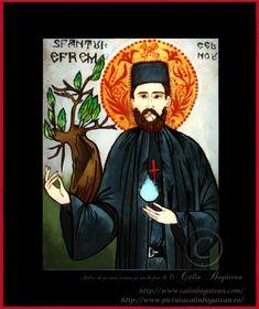 Sfântul Efrem cel Nou icoană naivă pictată pe dosul sticlei în ulei pictură tradițională lucrare de artă religioasă icoană ortodoxă pe sticlă icoană Sfântul Efrem cel Nou icoană  pictată  pe sticlă cu Sfântul Efrem cel Nou