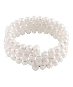White Pearl Coil Bracelet #zulily #zulilyfinds