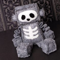Skeleton Felt Robot Plush with Skull and Ribs by GinnyPenny, $30.00