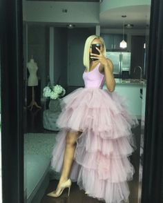 Oyemwen Tiered High Low Tulle Maxi Tutu Skirtwith Elastic Waistband in Pink. Runs true to size.  See sizing chart for details.