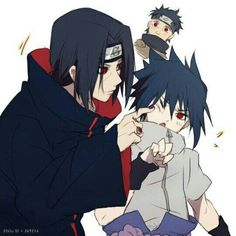 Shisui, Itachi, and Sasuke Naruto And Sasuke, Itachi Uchiha, Anime Naruto, Naruto Funny, Naruto Cute, Sakura And Sasuke, Naruto Shippuden Anime, Gato Anime, Manga Anime