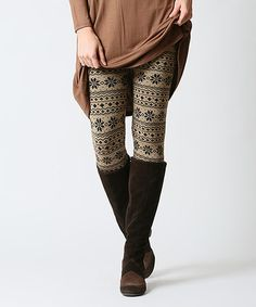 Another great find on #zulily! Mocha Snowflake Fleece-Lined Leggings #zulilyfinds