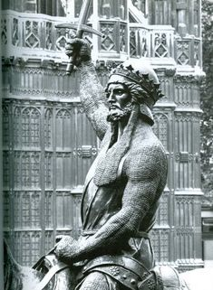 Statue of Richard the Lionheart, outside the Houses of Parliament, London. If I go back in my family tree, he's there on my Mom's side!