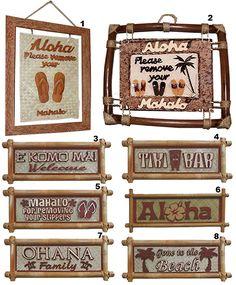 Wall or Door Bamboo Signs, Hawaiian Home Decor