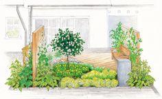 Sommerliche Farben dominieren des Vorgarten. Eine Sitzbank bietet Möglichkeit sich in den Garten zu setzen