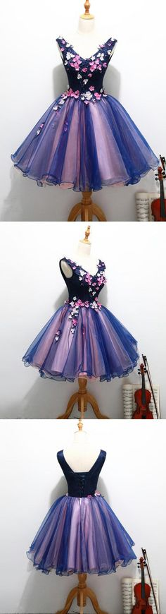 Charming A-line V-neck Homecoming Dress Short Prom Drsess SKY800 #fashion #lace #popular #prom #homecoming #A-line #Appliques