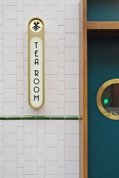 [New] The 10 Best Home Decor (with Pictures) - This Tea room is spot on! Brass accents hints of green & blue and a some general calm feels. Image:Bun House & Tea Room Soho by Hes interiors studio Five Line Projects Hotel Signage, Wayfinding Signage, Signage Design, Cafe Design, Store Design, Restaurant Signage, Food Signage, Cafe Signage, Retro Signage
