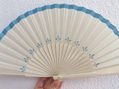 Cream and Blue Hand Painted Handheld Folding Fan by DengraDesigns