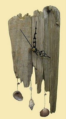 driftwood Clock | The carved metal wall decoration has a clock as well. I think it will ...
