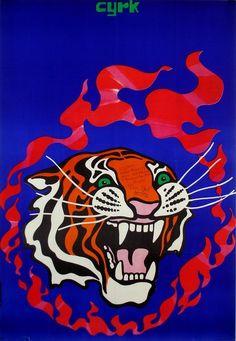 Tadeusz Jodlowski, Circus Tiger and Flaming Circle, 1970