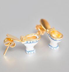 // tiny toilet earrings