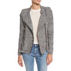Iro Carlota Asymmetric Tweed Jacket (21020 TWD) ❤ liked on Polyvore featuring outerwear, jackets, tweed jacket, snap jacket, zip front jacket, long sleeve jacket and asymmetrical jacket