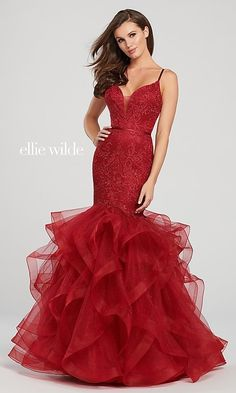 Check out Ellie Wilde prom and special event dresses featuring vibrant prints and luxurious bead work perfect for your special occasion. Mermaid Style Prom Dresses, Elegant Prom Dresses, Prom Dresses 2018, Designer Prom Dresses, Plus Size Prom Dresses, Trendy Dresses, Evening Dresses, 8th Grade Graduation Dresses, Formal Gowns