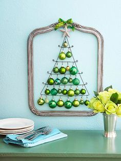 Love this ornament tree hanging inside a frame.