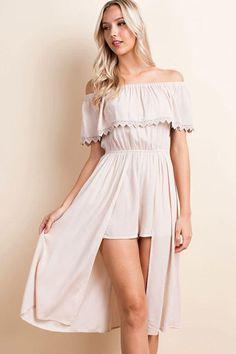 8d6028868092 LLove Off Shoulder Romper Long Skirt Playsuit - Taupe