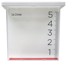 La Crosse Technology 705-109 Waterfall Rain Gauge by La Crosse Technology. $11.17. Large width waterfall design. measures up to 6 inches. plastic frame. Waterfall design rain gauge measures rainfall up to 6 inches. Removable drop-in gauge feature from the mountable hanging bracket onto a deck rail.