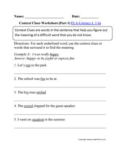 Context Clues Worksheets Writing Part 4 Advanced | jhendignadice ...