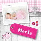 Geboortekaartjes - Hip foto meisje geboortekaart met hout