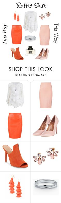 """""""Ruffle Shirt- Two Ways"""" by denise-grimes ❤ liked on Polyvore featuring Zimmermann, ThePerfext, Topshop, Halston Heritage, Marchesa, BaubleBar and Gucci"""