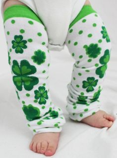 St. Patty's Day Baby Leg Warmers, Lucky Charm, 4 Leaf Clover, Hearts Polka Dots.
