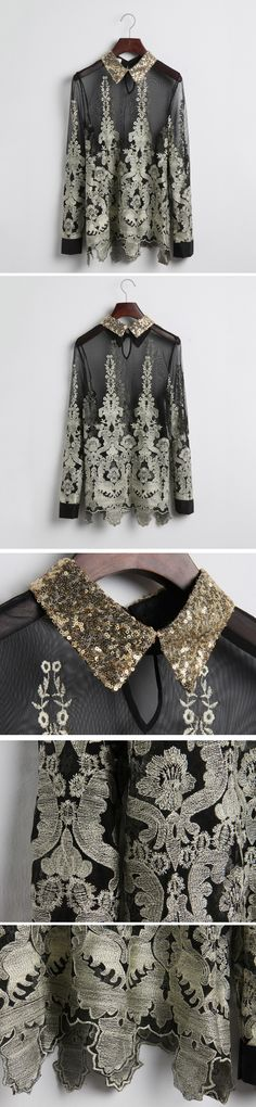 #Udobuy  Sequin Lapels Embroidered Chiffon$39