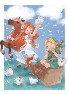 Malon, Epona, Link at LonLon ranch | #Zelda #OoT