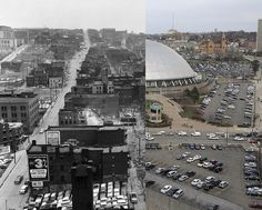 """Before and After""-  The Hill District/Wylie Avenue (left) and the Civic/Mellon Arena (right)"